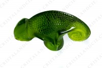 Chameleon in clear and frosted green crystal by Lalique photo-2