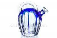 Cordial decanter in blue double layer crystal by Saint-Louis photo-3