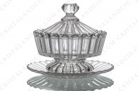 Jam jar in molded crystal by Baccarat decorated with frosted bevels photo-2