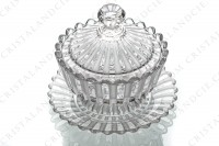 Jam jar in molded crystal by Baccarat decorated with frosted bevels photo-3