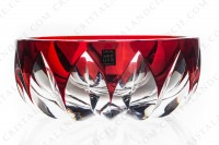 Bowl in red double layer crystal by Saint-Louis pattern Blois decorated with cut bevels photo-2