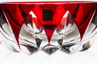 Bowl in red double layer crystal by Saint-Louis pattern Blois decorated with cut bevels photo-4