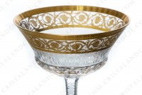 Champagne saucer in crystal by Saint-Louis pattern Thistle with an important cut and engraved pattern with gold inlays photo-2