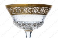 Champagne saucer in crystal by Saint-Louis pattern Thistle with an important cut and engraved pattern with gold inlays photo-3