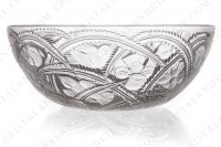 Bowl in crystal by Lalique pattern Pinsons with an important pattern of birds in leaf photo-2