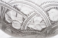 Bowl in crystal by Lalique pattern Pinsons with an important pattern of birds in leaf photo-5