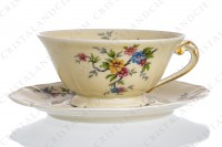 Breakfast cup in china by the Ancienne Fabrique Royale Limoges decorated with polychromes flowers photo-2