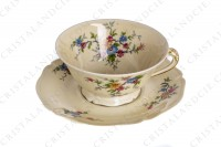 Breakfast cup in china by the Ancienne Fabrique Royale Limoges decorated with polychromes flowers photo-3