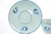 Breakfast cup in Limoges china by Haviland et Parlon pattern Shangaï bleu orient, decorated with flowers in shades of blue on a Celadon paste photo-7