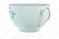 Breakfast cup in Limoges china by Haviland et Parlon pattern Shangaï bleu orient, decorated with flowers in shades of blue on a Celadon paste photo-4