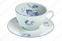 Breakfast cup in Limoges china by Haviland et Parlon pattern Shangaï bleu orient, decorated with flowers in shades of blue on a Celadon paste photo-2