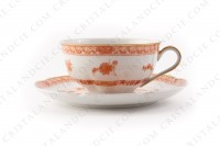 Breakfast cup in Limoges china by Haviland pattern Tehran decorated with a flowered red bush photo-2