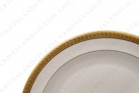 Pair of dessert plates in china of Limoges by Chastanier decorated with a frieze of laurels in gold inlays photo-3