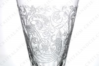 Champagne flute in crystal by Baccarat pattern Parme with a cut and engraved pattern of vegetal arabesques and birds of paradise photo-4