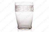 Tumbler in crystal by Baccarat pattern Cygne Empire decorated with an acid engraved frieze, with amphoras, crown of laurels and swans on flowered arabesques photo-2