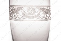 Tumbler in crystal by Baccarat pattern Cygne Empire decorated with an acid engraved frieze, with amphoras, crown of laurels and swans on flowered arabesques photo-4