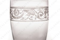Tumbler in crystal by Baccarat pattern Cygne Empire decorated with an acid engraved frieze, with amphoras, crown of laurels and swans on flowered arabesques photo-5