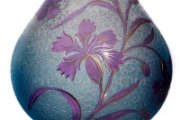 Pair of Art Nouveau vases in double layer crystal by Saint-Louis pattern with cornflowers with a blue background engraved with the acid, decorated with cornflowers in purple crystal enhanced with gold photo-8