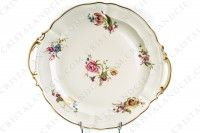 Cake dish in china of Limoges by Bernardaud shape Régence decorated with polychromes flowers photo-2