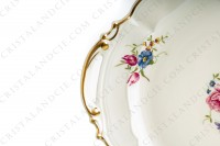 Cake dish in china of Limoges by Bernardaud shape Régence decorated with polychromes flowers photo-4