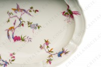 Ovale platter in china of Limoges by Bernardaud pattern Chantilly with a Japanese polychrome pattern of flowers and birds of paradise photo-4