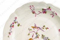 Round dish in china of Limoges by Bernardaud pattern Chantilly with a Japanese polychrome pattern of flowers and birds of paradise photo-4
