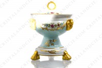 Covered bowl in china of Limoges with a hand painted pattern of polychromes and gold flowers photo-2