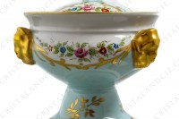 Covered bowl in china of Limoges with a hand painted pattern of polychromes and gold flowers photo-5