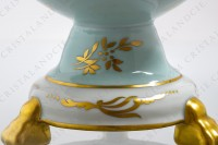 Covered bowl in china of Limoges with a hand painted pattern of polychromes and gold flowers photo-7