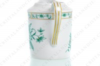Square creamer in Limoges china by Bernardaud pattern Pekin decorated with green gold enhanced flowers photo-2