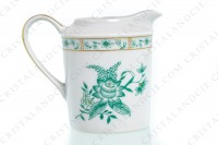 Square creamer in Limoges china by Bernardaud pattern Pekin decorated with green gold enhanced flowers photo-3