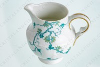 Creamer in Limoges china by Haviland and Parlon with a blue shades pattern of flowered branches and bird photo-5