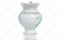 Creamer in Limoges china by Bernardaud pattern Pekin decorated with green gold enhanced flowers photo-2