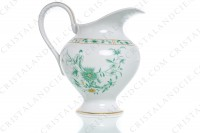 Creamer in Limoges china by Bernardaud pattern Pekin decorated with green gold enhanced flowers photo-3