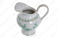 Creamer in Limoges china by Bernardaud pattern Pekin decorated with green gold enhanced flowers photo-4