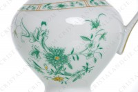 Creamer in Limoges china by Bernardaud pattern Pekin decorated with green gold enhanced flowers photo-5