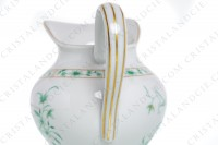 Creamer in Limoges china by Bernardaud pattern Pekin decorated with green gold enhanced flowers photo-6