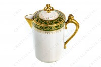 Creamer in Limoges china by Chabrol and Poirier decorated with a gold frieze of plant arabesques on a green border photo-2