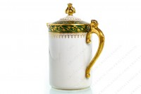Creamer in Limoges china by Chabrol and Poirier decorated with a gold frieze of plant arabesques on a green border photo-4