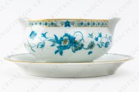 Gravy boat in Limoges china by Haviland, pattern Nankin decorated with blue and gold flowers photo-2