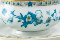 Gravy boat in Limoges china by Haviland, pattern Nankin decorated with blue and gold flowers photo-4