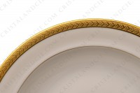 Set of seven soup plates in china of Limoges by Chastanier decorated with a frieze of laurels in gold inlays photo-3