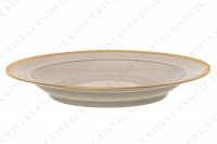 Set of seven soup plates in china of Limoges by Chastanier decorated with a frieze of laurels in gold inlays photo-2
