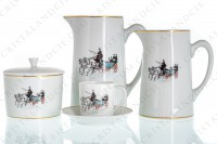 Moka set in china of Limoges by Haviland and Parlon decorated with a polychrome carriage photo-2