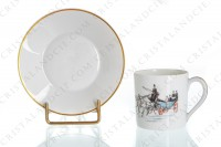 Moka set in china of Limoges by Haviland and Parlon decorated with a polychrome carriage photo-9