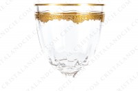 Wine set in crystal probably by Saint-Louis decorated with venetian cut and friezes with gold inlays, the stem of the glasses is decorated with flat cuts photo-10