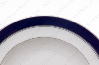 Set of six soup plates in Limoges china by Bernardaud pattern platinum Pavie, decorated with cobalt blue and platinum borders photo-3