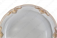 Set of six dinner plates in Limoges china by Bernardaud pattern Coquille decorated with gold shells and arabesques photo-2