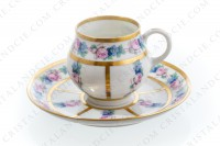 Set of six Art Deco coffee cups in china of Limoges by Legrand decorated with polychromes flowers photo-3