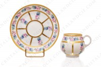 Set of six Art Deco coffee cups in china of Limoges by Legrand decorated with polychromes flowers photo-2